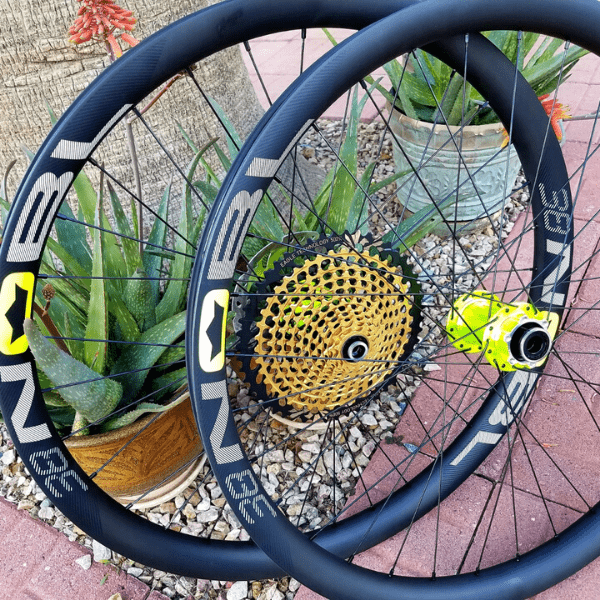 TR38 NOBL carbon wheel with Onyx hub and Sram Eagle XX1 cassette.