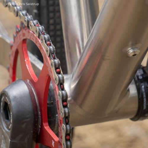Binary Grolar titanium gravel frame bottom bracket area.
